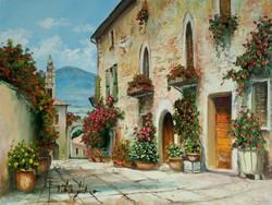 """V. Tóth Gábor """"Provence"""" c. olajfestmény szép keretben ingyenes házhoz szállítással"""