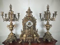 Monumentális réz kandalló óra szett