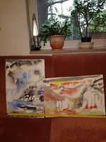 Két festmény, domboldal fákkal, sziklákkal