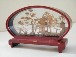 Mini, ázsiai bonsai kép, dioráma kis üveg vitrinben