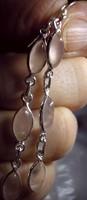 925 ezüst fülbevaló rózsakvarccal, beakasztós, hosszú
