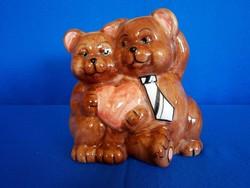 Kerámia persely, aranyos macik, szerelmes medve pár