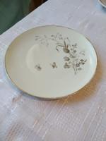 Aranyozott virágos süteményes tányér 19 cm