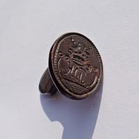 Antik réz vésett magyar nemesi címeres pecsétnyomó