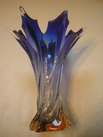 Muránói rétegelt váza 20 cm-es kék-sárga+ csavart ritkaság