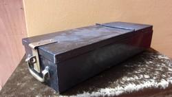 Régi, rézveretes pénzszállító kazetta / doboz