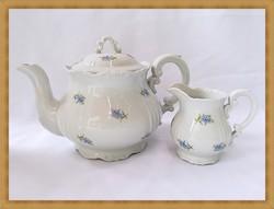 Ritka nefelejcs mintás Zsolnay barokk teás kanna és kis kiöntő