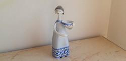 Hollóházi porcelán art deco tálas nő