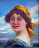 """Pállya Celesztin ( 1864 - 1948 ) """" Sárga kendős lány """""""