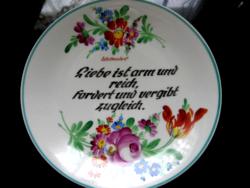 Anton Ott Radebeue kézzel festett közmondásos tányér