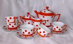 UTOLJÁRA AZ OLDALON Zsolnay pöttyös manófüles teás-készlet,ritkaság