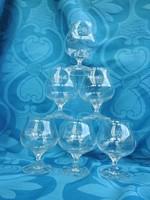 Régi szecis típusú talpas üvegpohár készlet