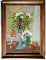 """ÁRON ALUL! Gádor Emil """"Virágok, gyümölcsök"""" c. keretezett olajfestmény ingyenes házhoz szállítással"""