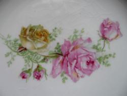 Antik rózsás feliratos tányér