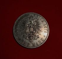 Ezüst birodalmi porosz 5 márka, 1876-legritkább C veret!
