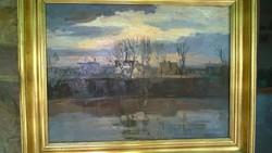 Meggyes L.Tiszapart o.,far.,jjl. széles aranyszínű fakerettel 60x80 cm