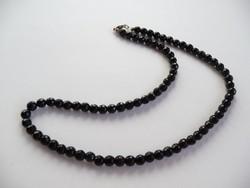 Fekete ónix nyaklánc ezüst zárral