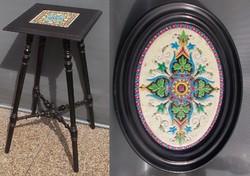 Antik bécsi Makart stíusú virágtartó asztal Makartstil
