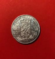 Ezüst belga 5 frank 1873-aUNC!-gyönyörű darab