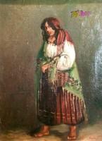 Kosarát takargató mezítlábas cigány asszony, antik olaj-vászon festmény, Csabonyi Lajostól