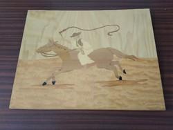Régi, retro, intarziás lovas (csikós) kép eladó