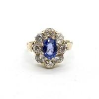 932. Antik Gyűrű Gyémántokkal és Kék Zafírral