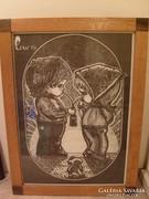E10  Hummel love is kettesben bájos fiú+lány 63 x47 cm üveglapos diófa keretben tusrajz ritkaság
