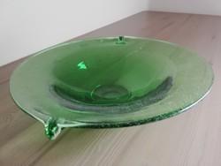 Zöld art deco üveg kínáló tál 28 cm