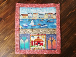 Patchwork textil falikép  33x37 cm