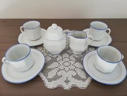 Burg Lindau kék szélű fehér porcelán kávéskészlet + ajándék kiöntő