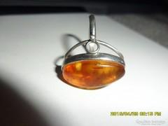 Régi orosz  borostyán  köves ezüst gyűrű