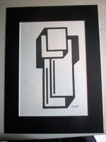Kassák Lajos kompozició litográfia jelzett aláírt paszpartu -val keretezve 1959