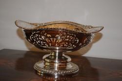 Antik Barokk gyümölcsőstál 800-as ezüst, jelzett! 860 g