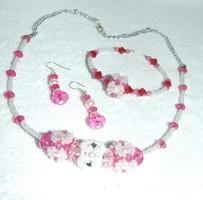 Kézzel készített gyönyörű egyedi Bizsu ékszer szett Rózsaszín