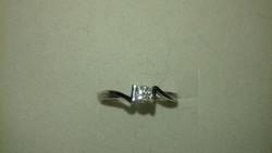 Fehèr arany gyémánt gyűrű18k certifikáttal