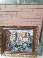 Vén Emil kikötő képcsarnokos festmény