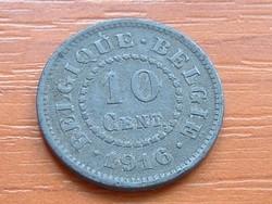 BELGIUM BELGIQUE - BELGIE 10 CENTIMES 1916 WW I CINK #