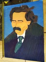 Móricz Zsigmond témájú tempera festmény, szignós