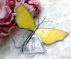 Tiffany üveg sárga pillangó dísz felakasztható