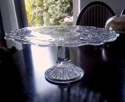 Régi öntött üveg nagy torta tál kristály mintás