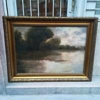 Jelzett antik nagyméretű olaj-vászon festmény faragott fa keretben 92x122 cm