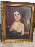 Ismeretlen festő  csodálatos női portré képe, olajkép festmény