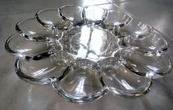 Régi öntött üveg tojás tál kristály mintás