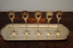 Ezüst likőrös poharak, ezüst tálcával. 1930-as évek. 400 g, Jelzett! 800-as finomság.