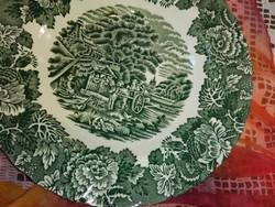 Woods Ware ,mélyzöld, angol porcelán,jelenetes,  mély  tányérok.