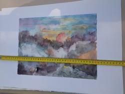 1-et fizet, 2-őt vihet akció! Akvarell, jelzett, vagy jelzetlen, de egy művésztől! Méret jelezve!