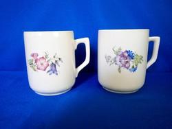 2 db antik pajzspecsétes Zsolnay porcelán virág mintás bögre csésze
