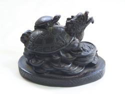 Ritka sárkányfejű teknős, hátán a kicsivel.