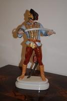 """Herendi porcelán """"Huszár"""" karddal. 40 cm, jelzett, hibátlan, kézzel festett!"""