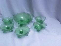 Nagyon szép zöld üveg kompótos készlet   / 2403